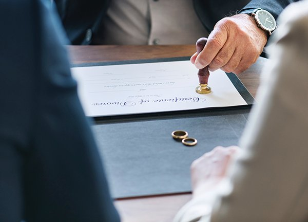 divorce papers and rings